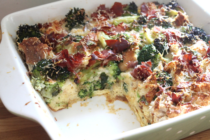 brocolli ham bread pudding