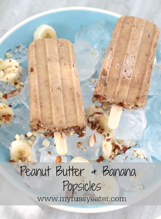 Dairy free 2 ingredient Peanut Butter & Banana Popsicles | My Fussy Eater Blog