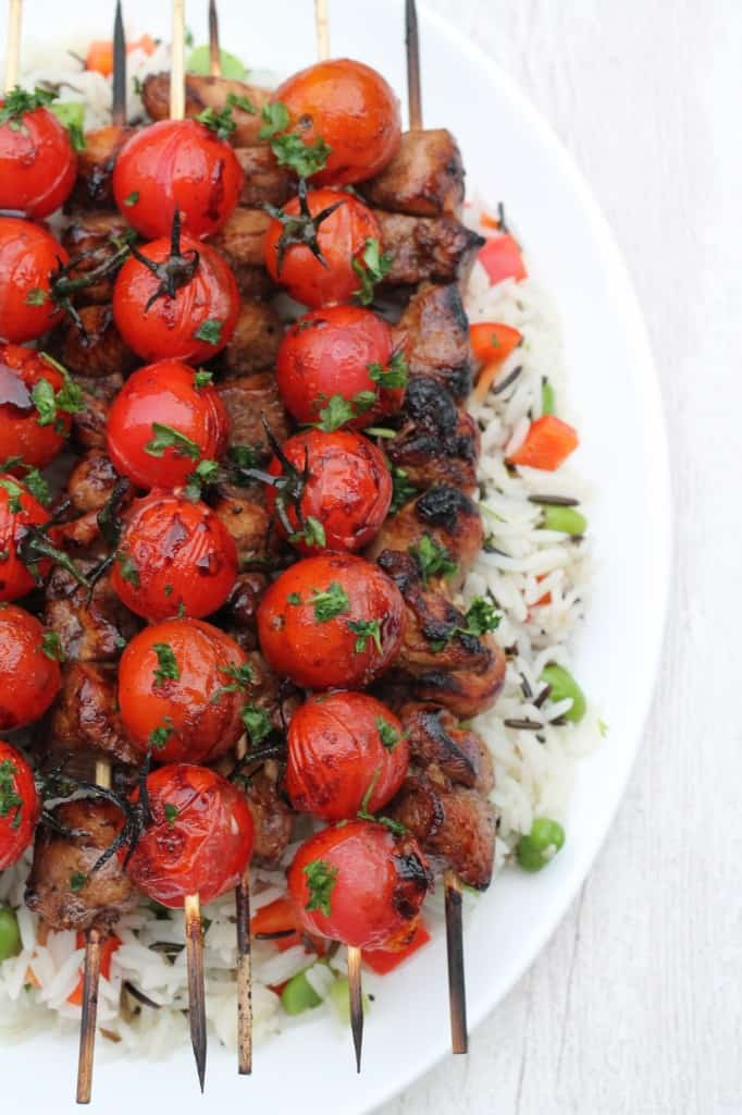 Balsamic Chicken Tomato Skewers