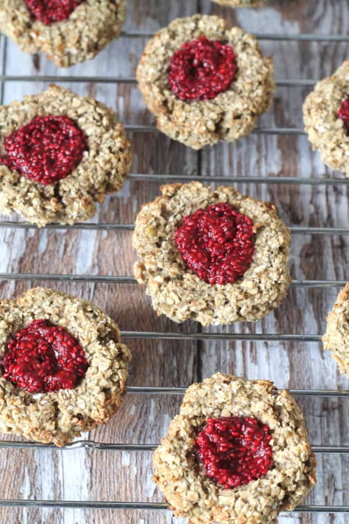 A healthy version of the classic jam thumbprint cookies. Made with oats, bananas & almond milk these cookies are gluten and dairy free with no refined sugar
