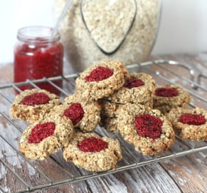 Oat Thumbprint Cookies with Raspberry Chia Jam