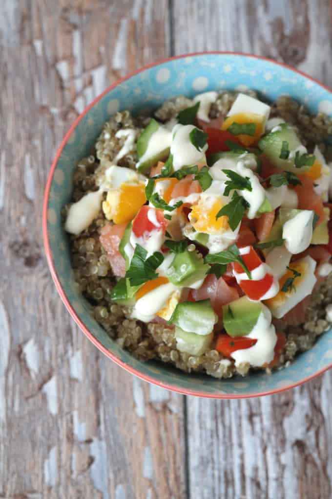 smoked salmon quinoa bowl