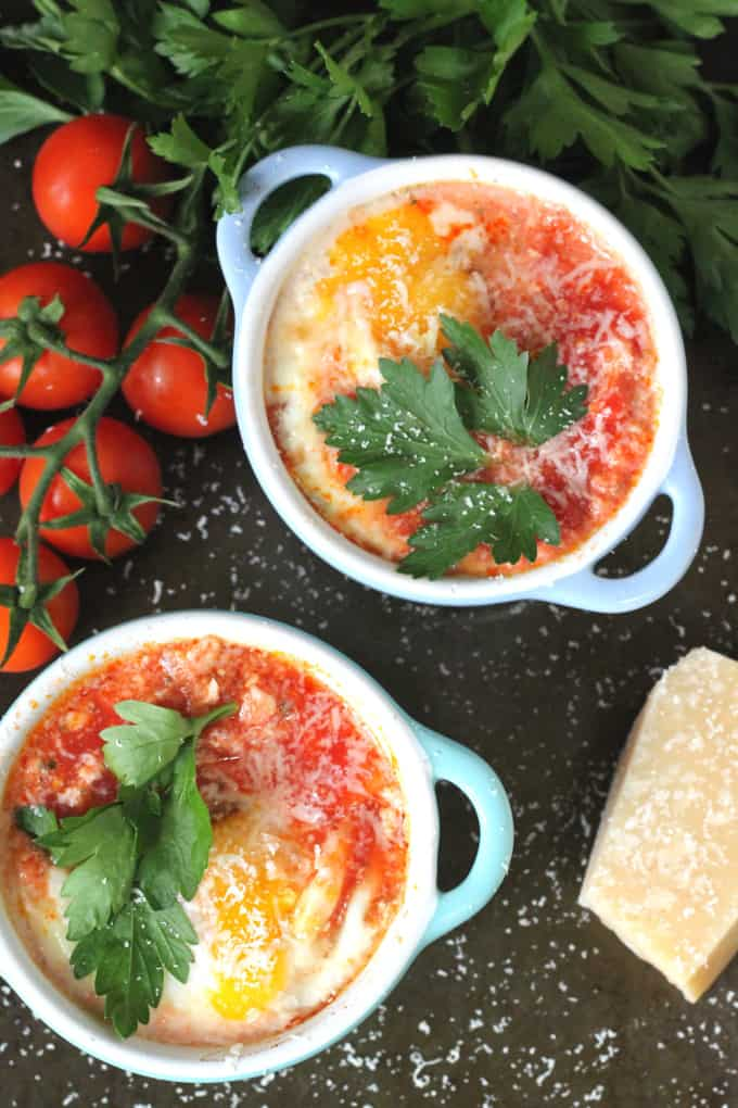 baked eggs chopped tomato chorizo parmesan