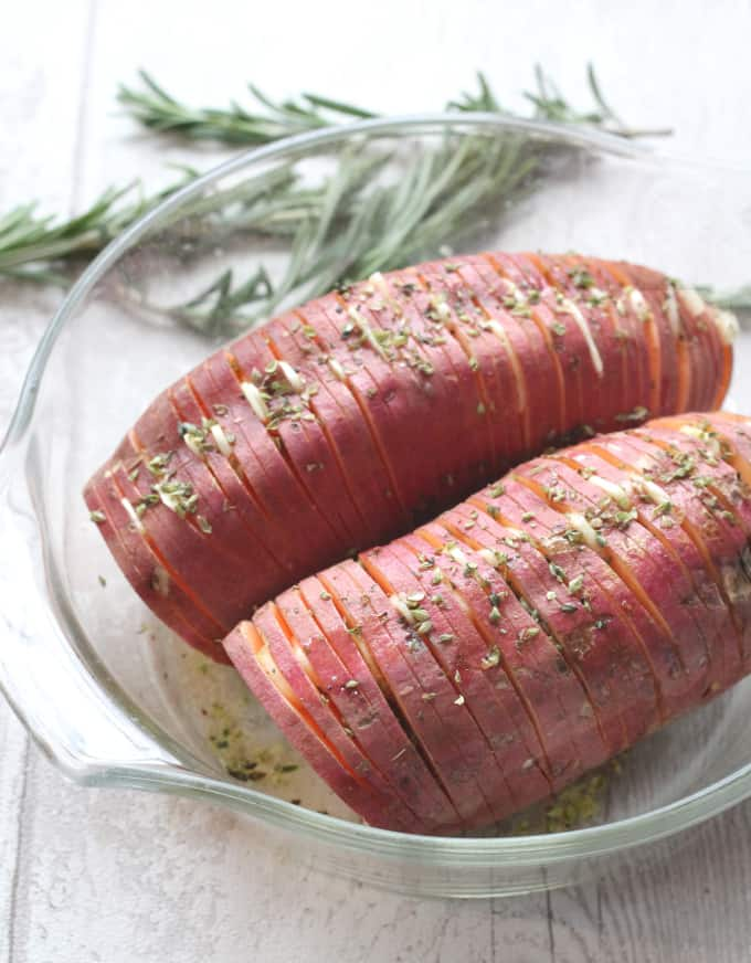 garlic herb hasselback sweet potatoes
