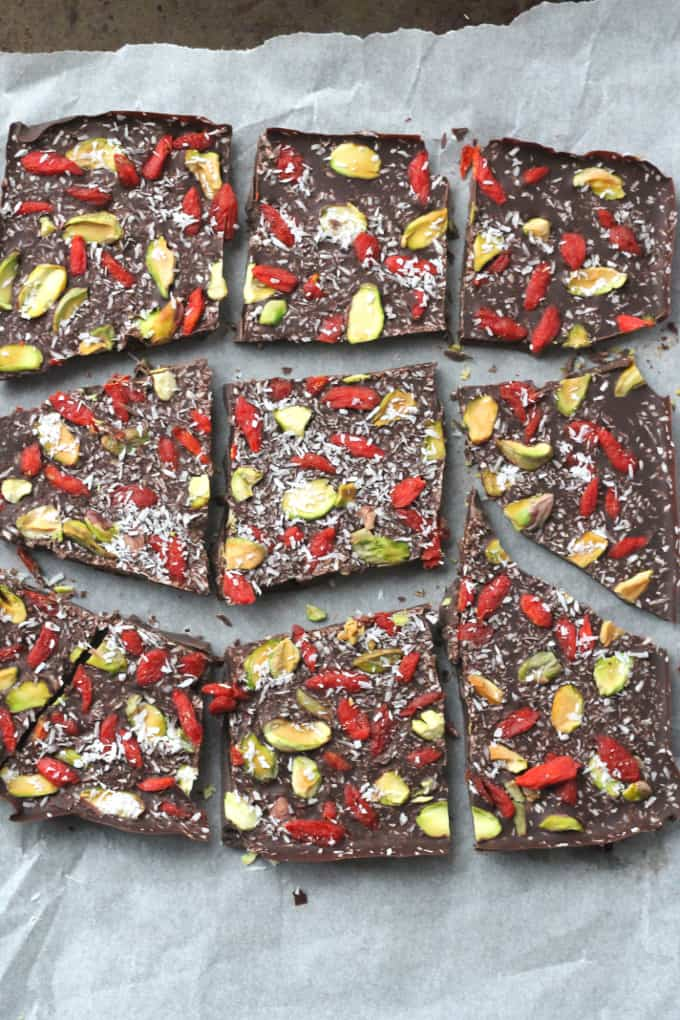 superfood dark chocolate bark