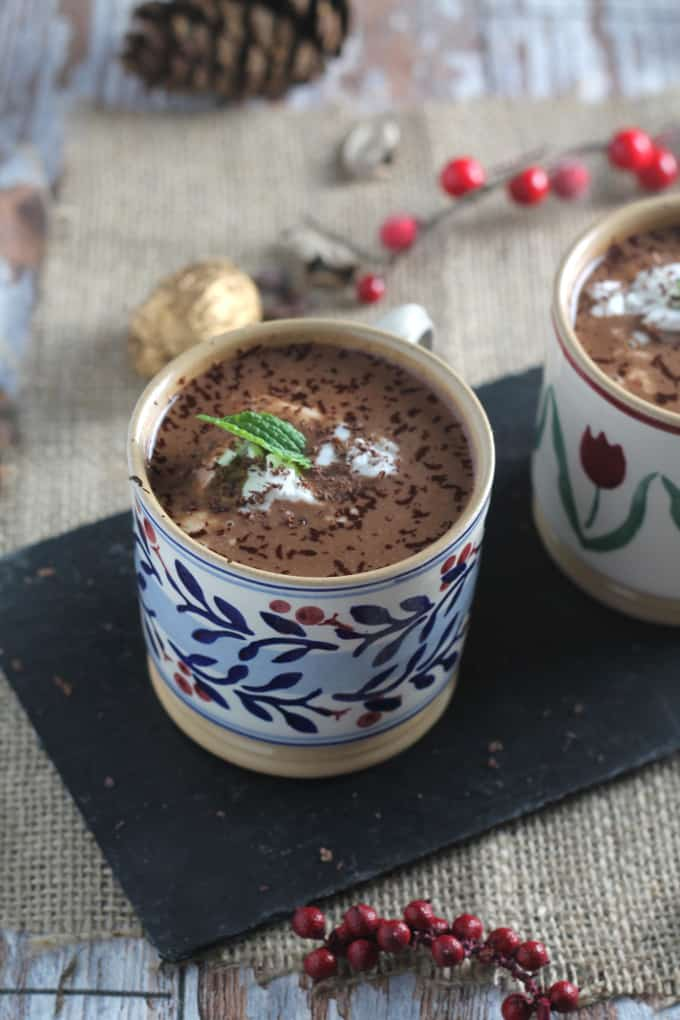 dairy free mint hot chocolate