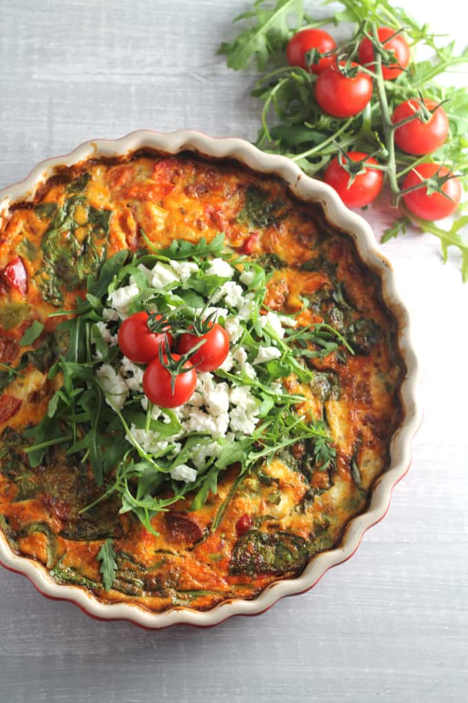 roasted tomato feta frittata crustless quiche