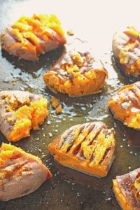 roasted smashed sweet potatoes
