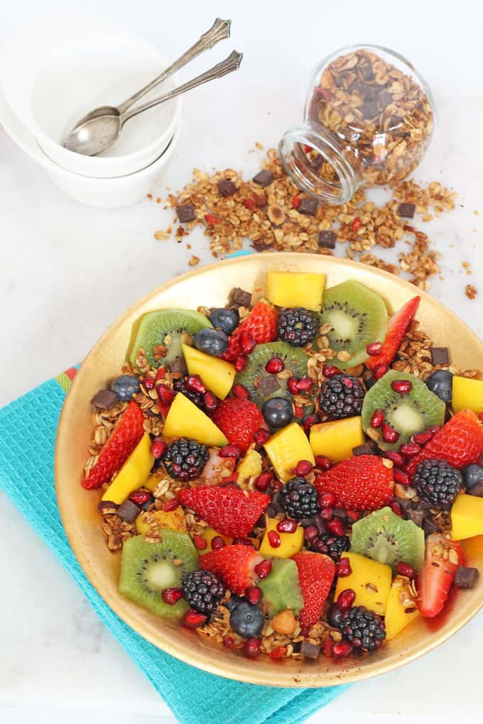 fruit salad honey lime dressing healthy chocolate chip granola