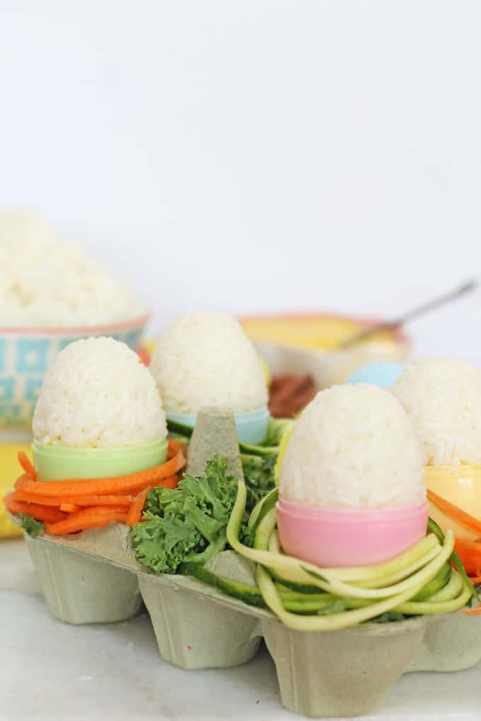A healthy twist on an easter egg made with rice and veggies. A cute idea to try with the kids! | My Fussy Eater Blog