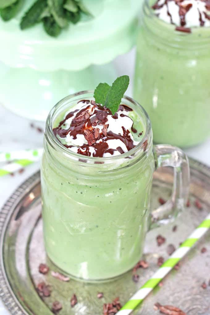 healthy shamrock shake spinach avocado