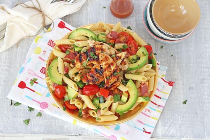Bacon Amp Avocado Pasta Salad With Honey Mustard Chicken My Fussy Eater