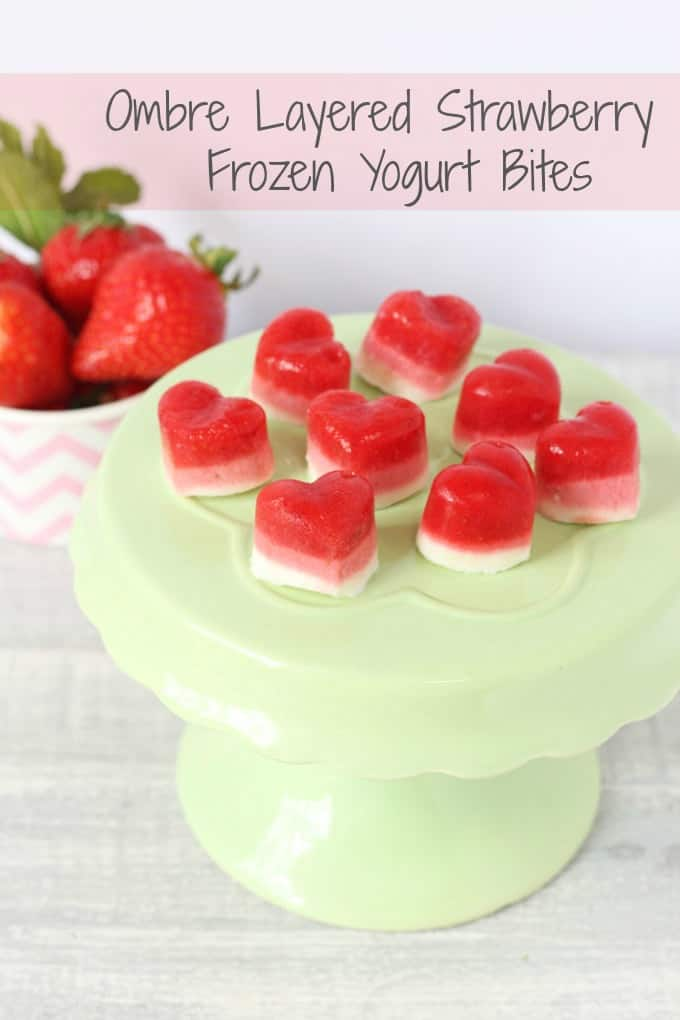 Layered Ombre Strawberry Frozen Yogurt Bites. A delicious low sugar and low calories snack for summer! | My Fussy Eater Blog