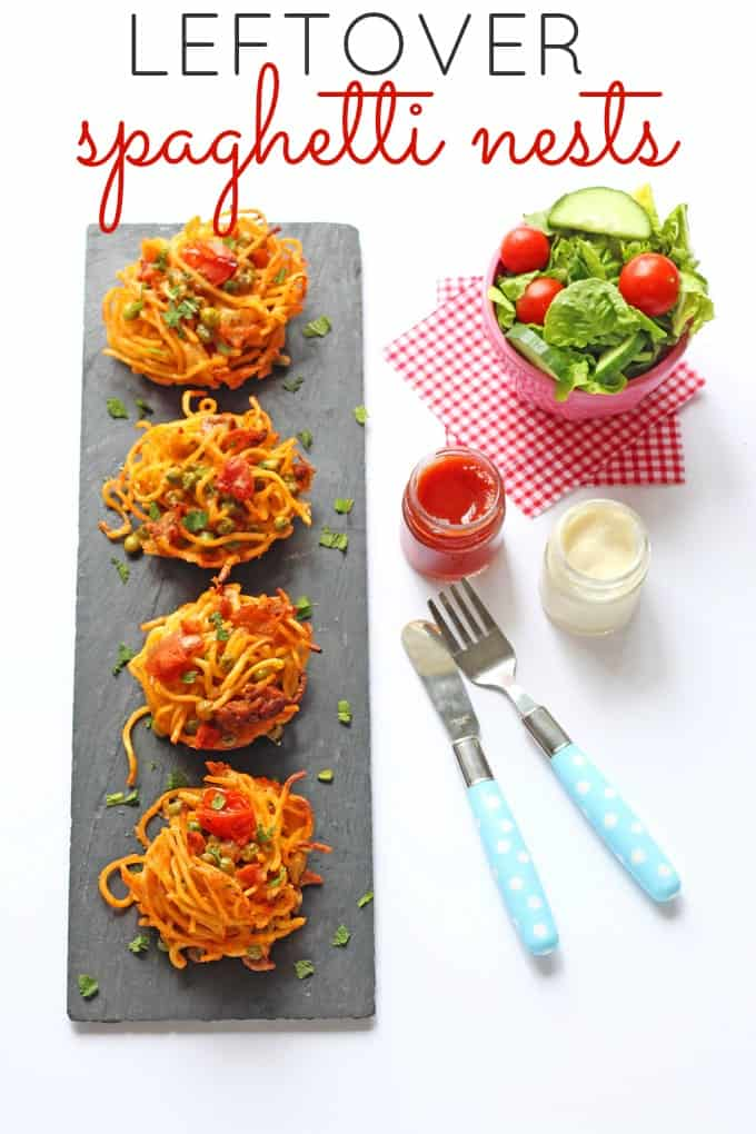 Use your leftover spaghetti bolognese to make these easy and delicious Leftover Spaghetti Nests! | My Fussy Eater Blog