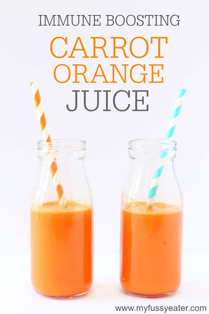 An easy immune boosting juice recipe made with carrot, orange and ginger. Great for kids and picky eaters! | My Fussy Eater blog