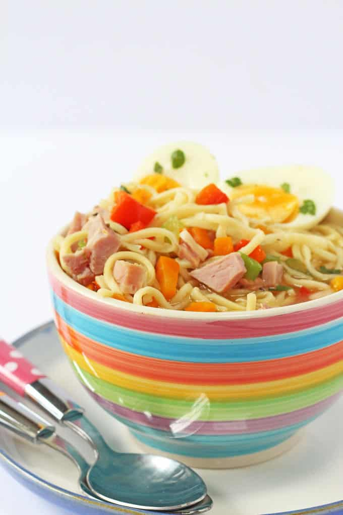 Use up leftover ham from your Sunday Roast to make this delicious and healthy Ham, Egg & Noodle Soup. A quick and easy meal idea for a Monday!   My Fussy Eater blog