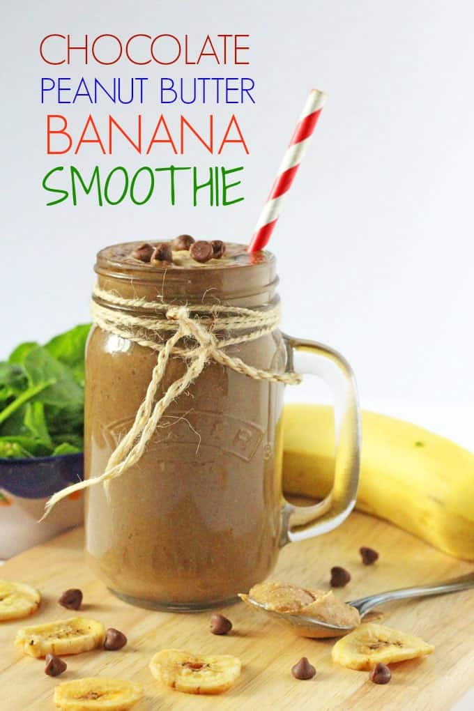 A delicious and healthy kid-friendly Chocolate, Peanut Butter & Banana Smoothie packed with hidden spinach and flaxseed for extra nutrition! My Fussy Eater blog