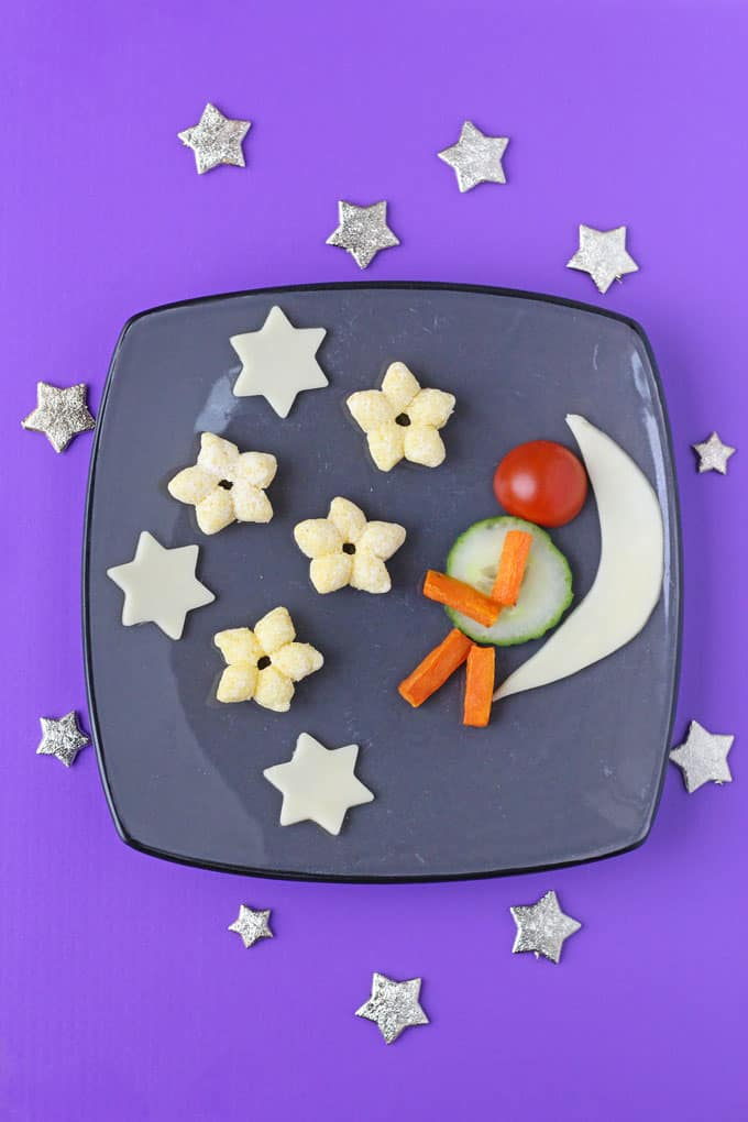 A fun cheese snack for toddlers and older kids made with Organix Cheese Stars, fresh cheese and veggies   My Fussy Eater blog