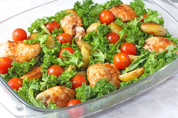 Cajun Chicken Potato Amp Kale Traybake My Fussy Eater Healthy Kids Recipes