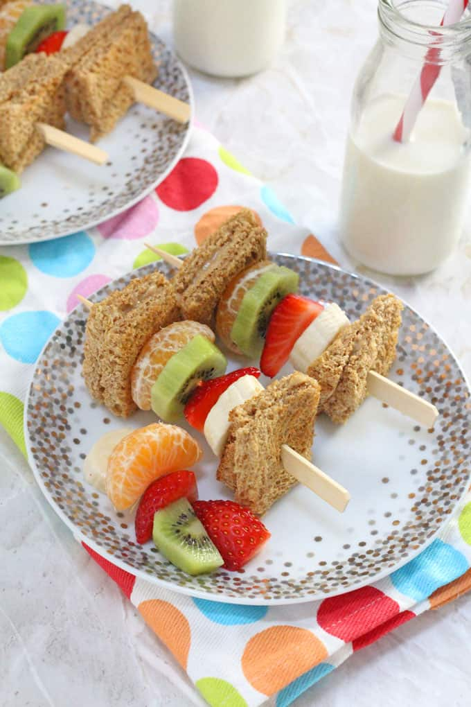 Make breakfast time a little more fun with these Breakfast Kebabs made with peanut butter on wholemeal toast and fresh fruit | My Fussy Eater blog