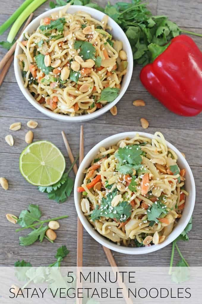 A super quick, easy and healthy family meal ready in just 5 minutes. You won't believe just how simple this Satay Vegetable Noodle recipe is to whip up.