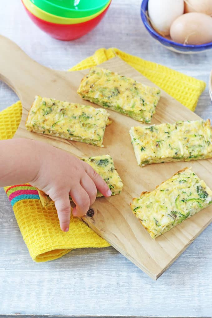 Broccoli Cheese Frittata Fingers, ideal for baby led weaning and toddlers too