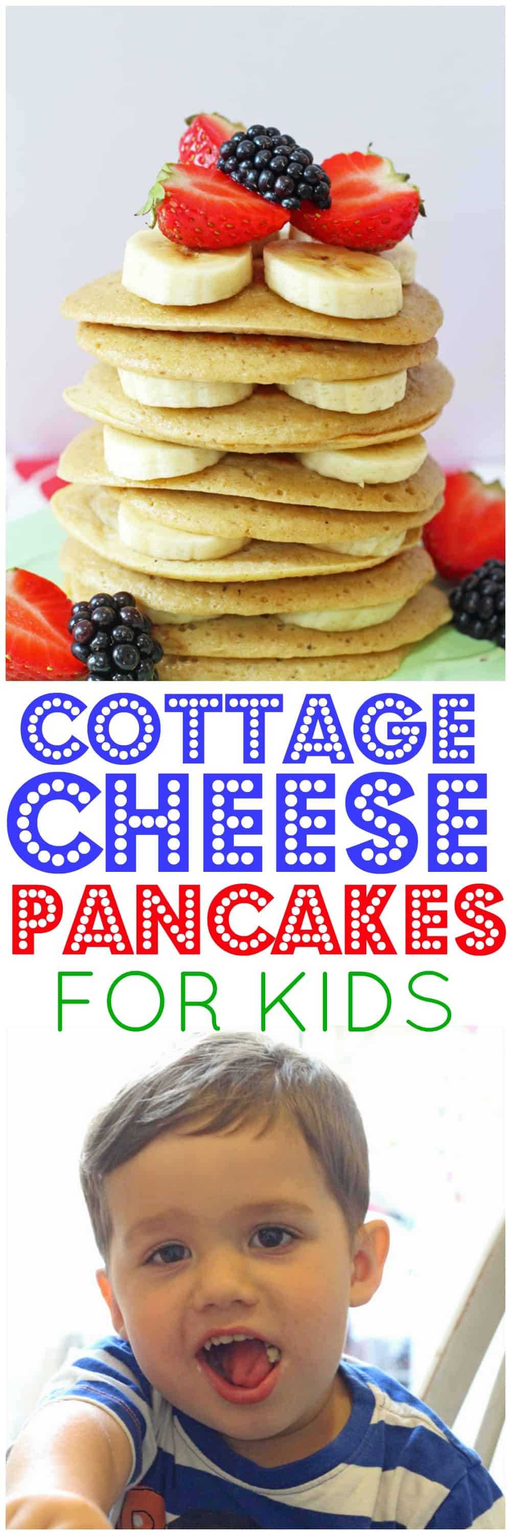 Delicious and nutritious Cottage Cheese Pancakes packed full of protein, slow releasing carbs and with no refined sugar. The perfect healthy breakfast or snack the whole family will love!