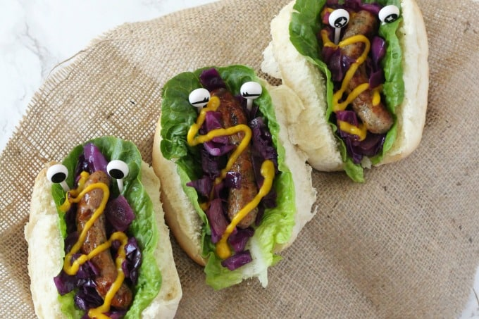 Monster Hot Dogs With Warm Red Cabbage Slaw My Fussy Eater Healthy Kids Recipes