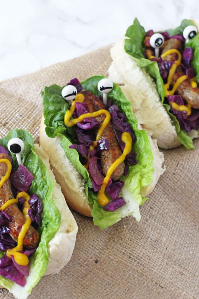 Monster Hot Dogs With Warm Red Cabbage Slaw My Fussy Eater Easy