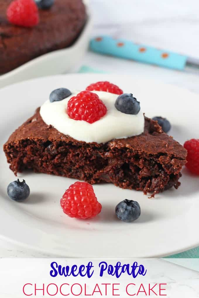 A delicious low sugar chocolate cake made extra healthy with hidden sweet potatoes! A great way to get some extra veggies into kids!