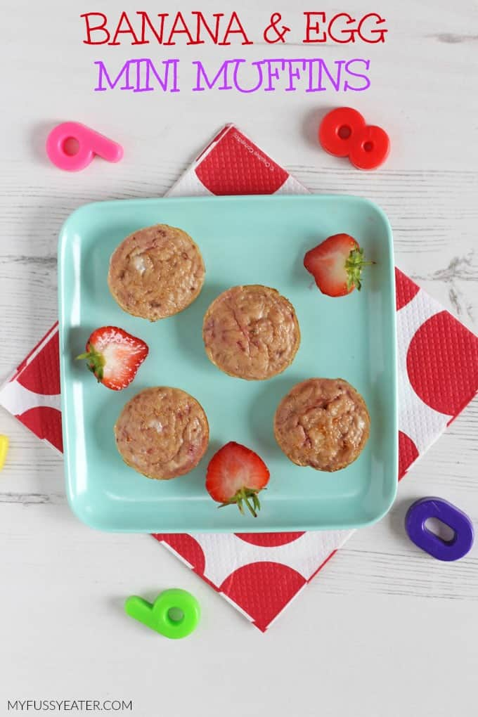 Delicious Banana & Egg Mini Muffins made with just three natural ingredients. Perfect for baby weaning and toddler finger food too! My Fussy Eater blog
