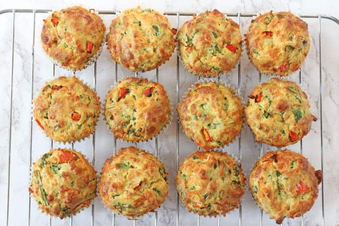 Spinach & Cheese Savoury Lunchbox Muffins - My Fussy Eater