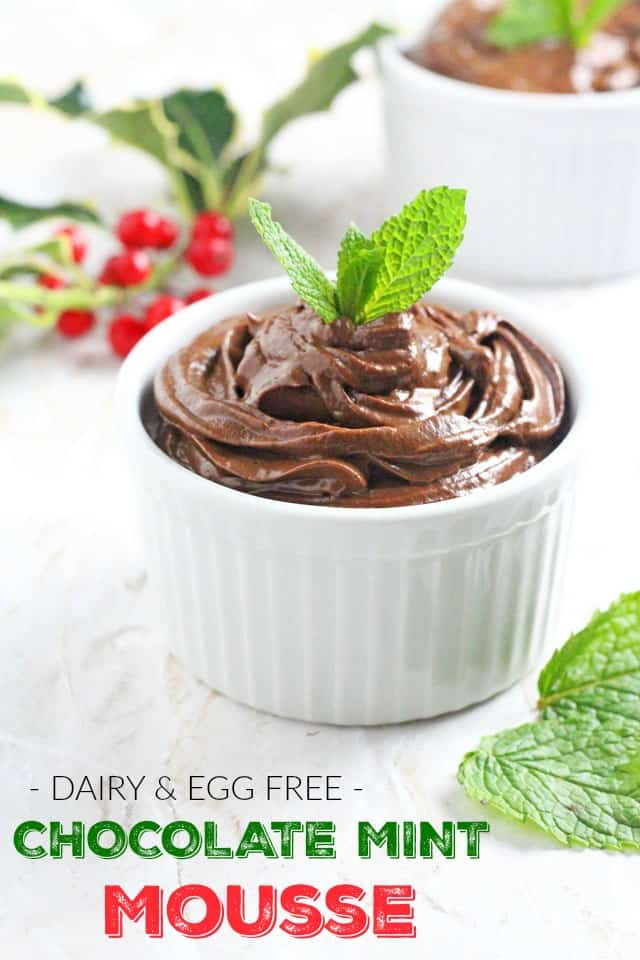 A healthy festive Chocolate Mint Mousse made with avocado and banana. It's also dairy free, egg free and refined sugar free!