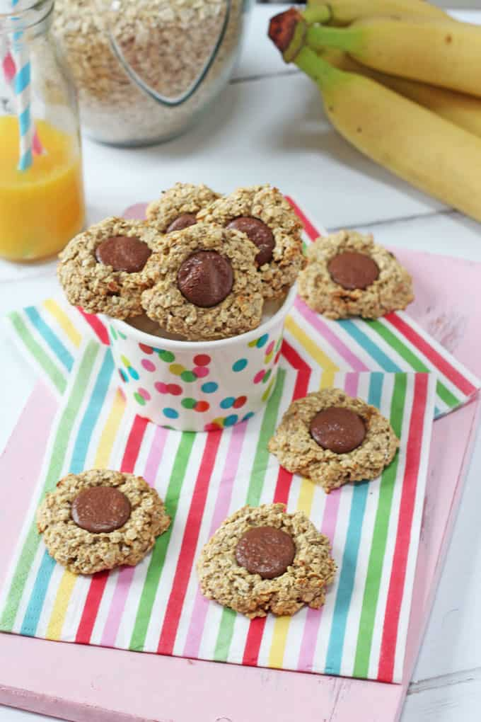 These delicious little thumbprint cookies are made with just four ingredients and make the perfect sweet snack for toddlers or older kids who are gluten and dairy free.