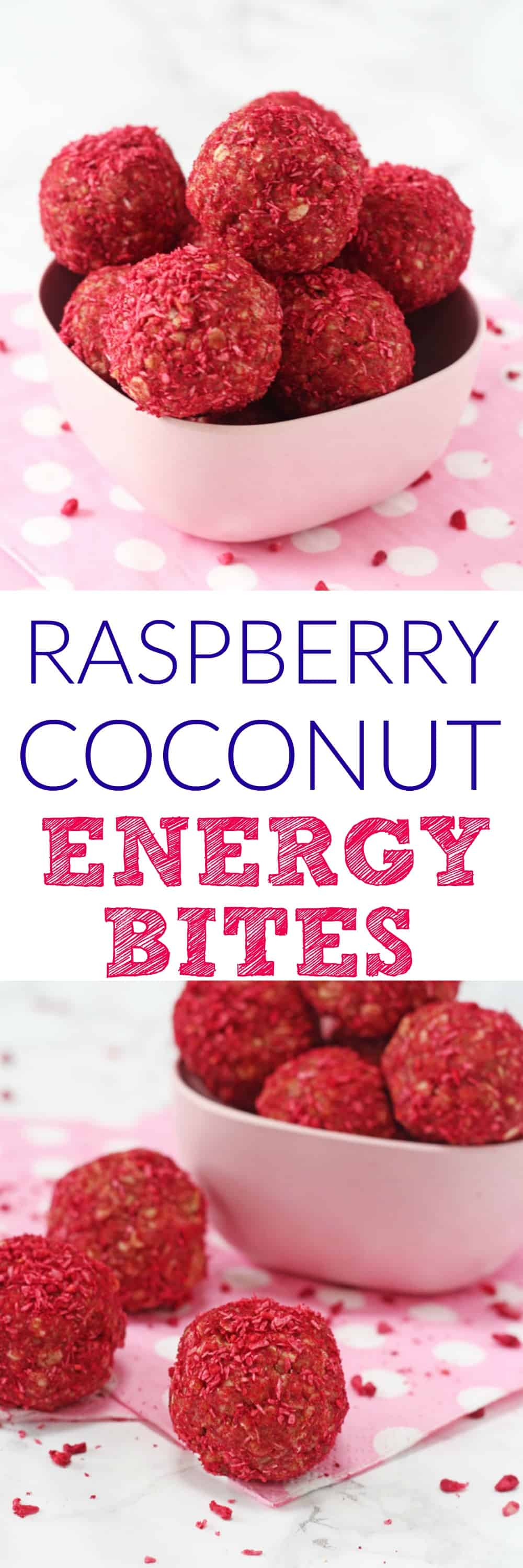 Delicious and healthy energy bites packed full of oats, peanut butter, freeze dried raspberries and shredded coconut. A tasty and nutritious snack that adults and kids will love!