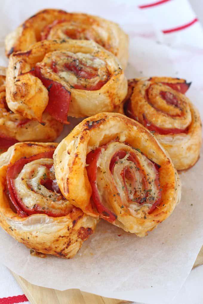 Ham & Cheese Puff Pastry Roll Ups