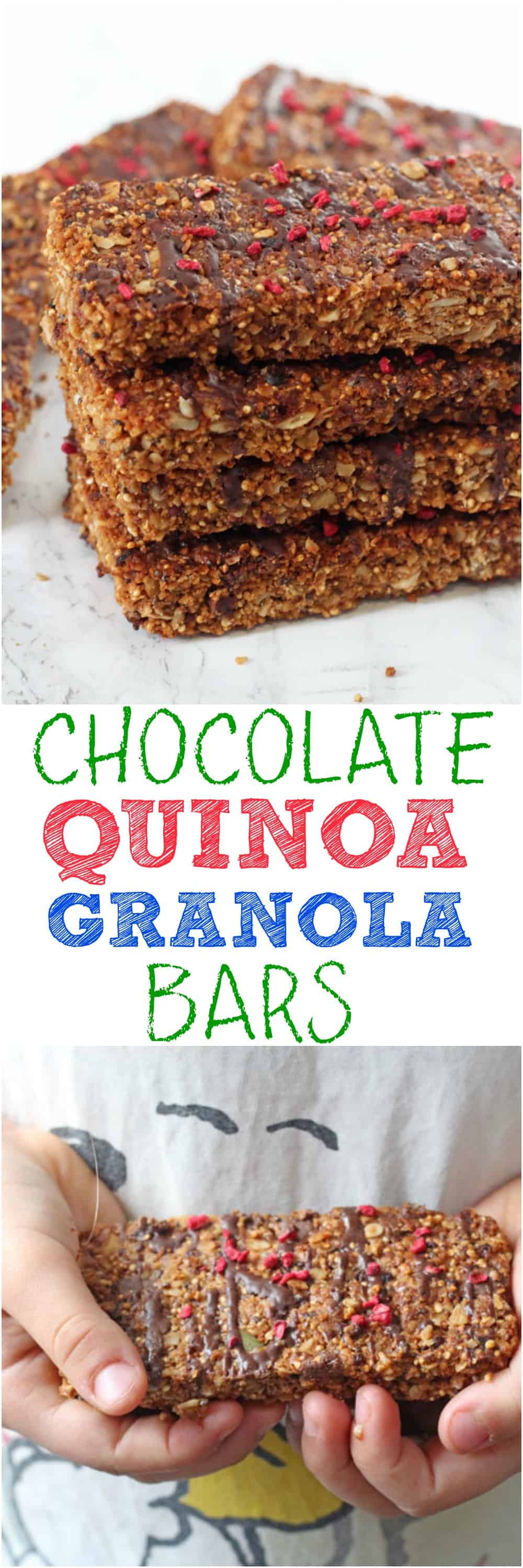 A super tasty and healthy Chocolate Granola Bar packed with oats, puffed quinoa, nuts and seeds. Great for snacks or for lunch boxes too!