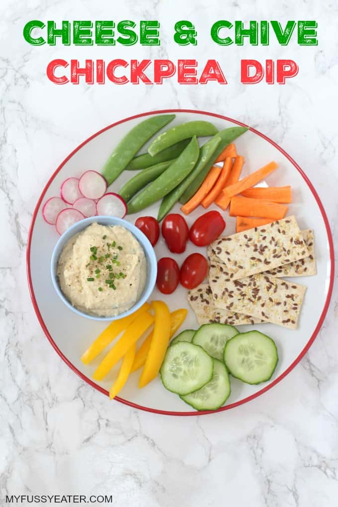A creamy and cheesy dip made with chickpea and packed full of protein! A great way to get kids to eat their veggies!