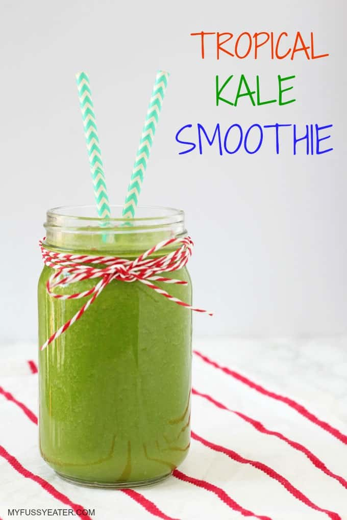 A tasty dairy free smoothie packed with kale, pineapple, mango and melon. A super delicious and healthy start to the day!