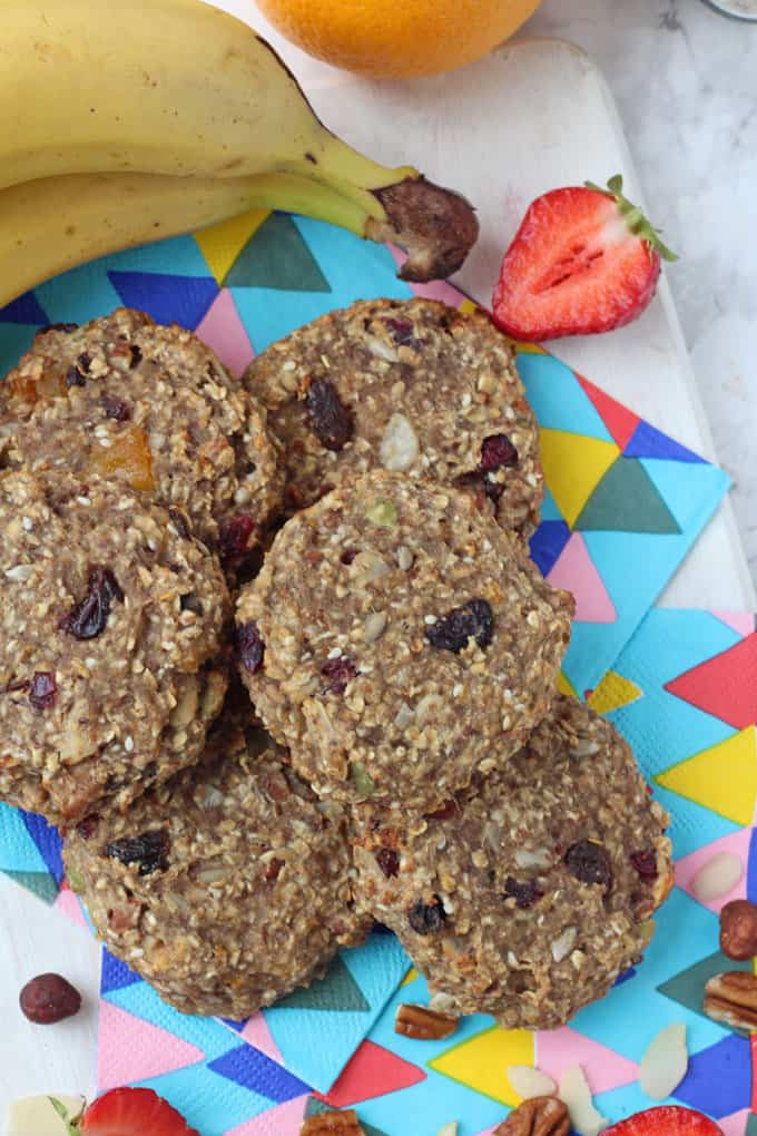 Sweetened with bananas and a little honey, these Breakfast Cookies are packed with slow releasing carbs and fibre too. Perfect for feeding your family on busy mornings!