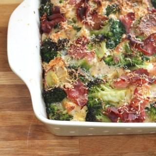 Parmesan Bread Pudding with Broccoli & Ham