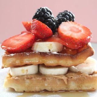 Peanut Butter & Banana Breakfast Waffles