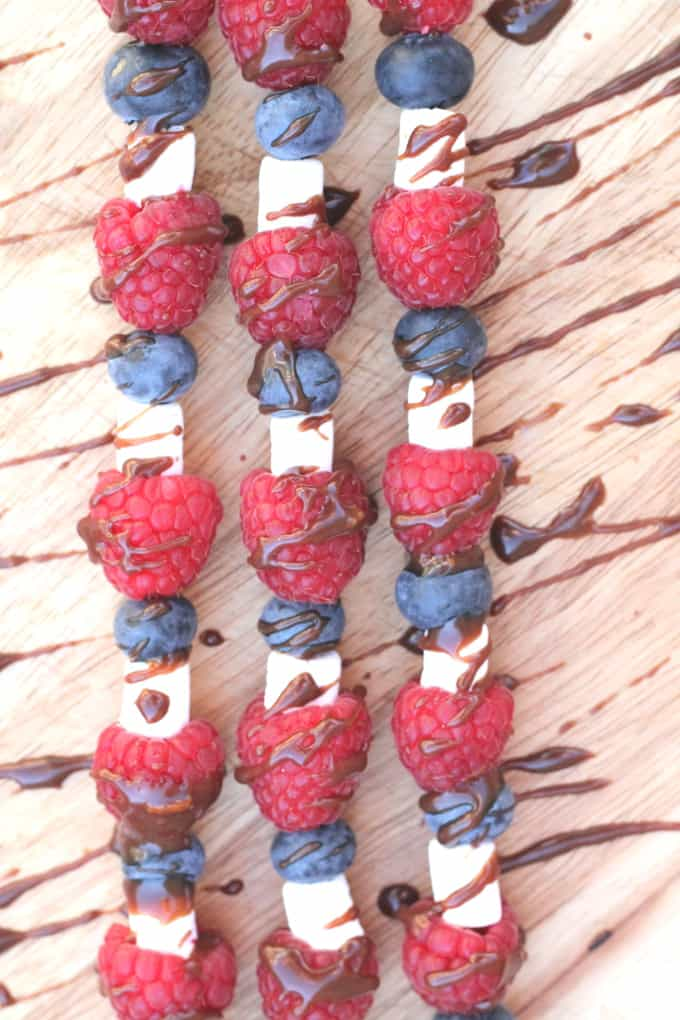 Fruit & Marshmallow Skewers with Chocolate Orange Sauce
