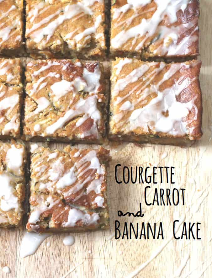 courgette, carrot and banana cake with orange icing glaze