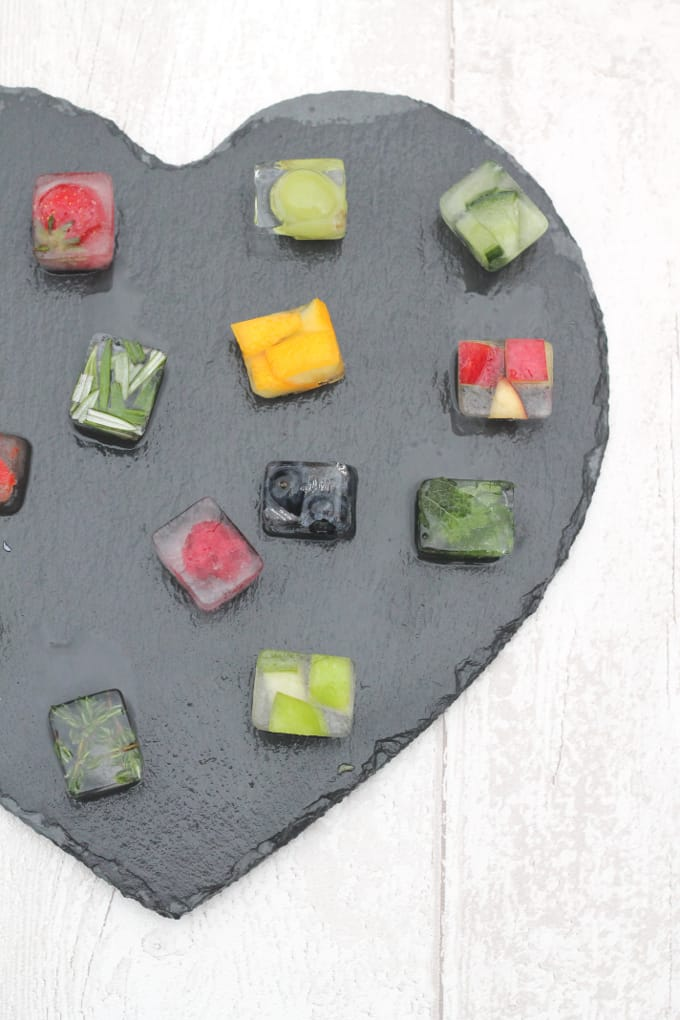 ice cubes with fruit