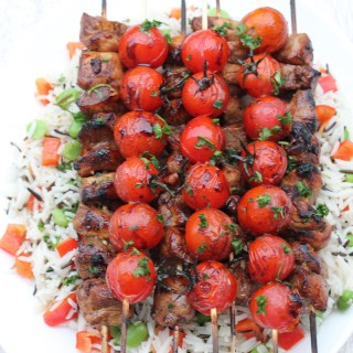 Balsamic Chicken & Tomato Skewers with Wild Rice