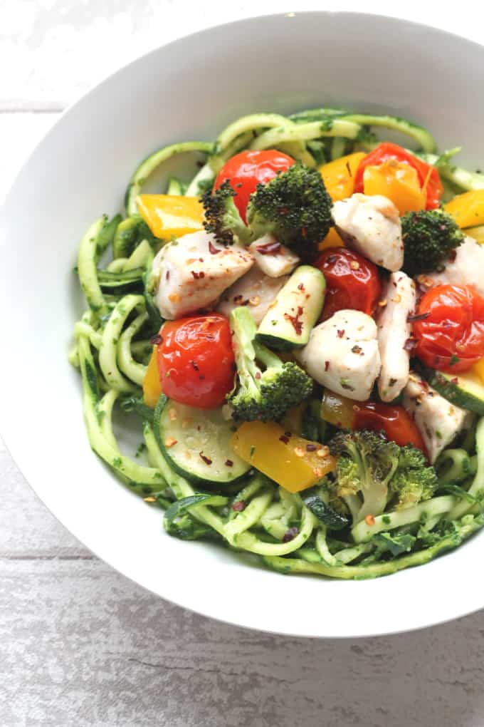 zoodles with rosted vegetables