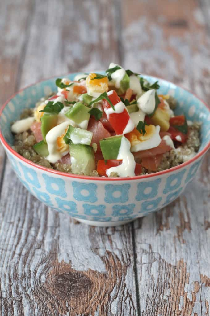 smoked salmon salad quinoa bowl