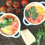 tomato and chorizo baked eggs