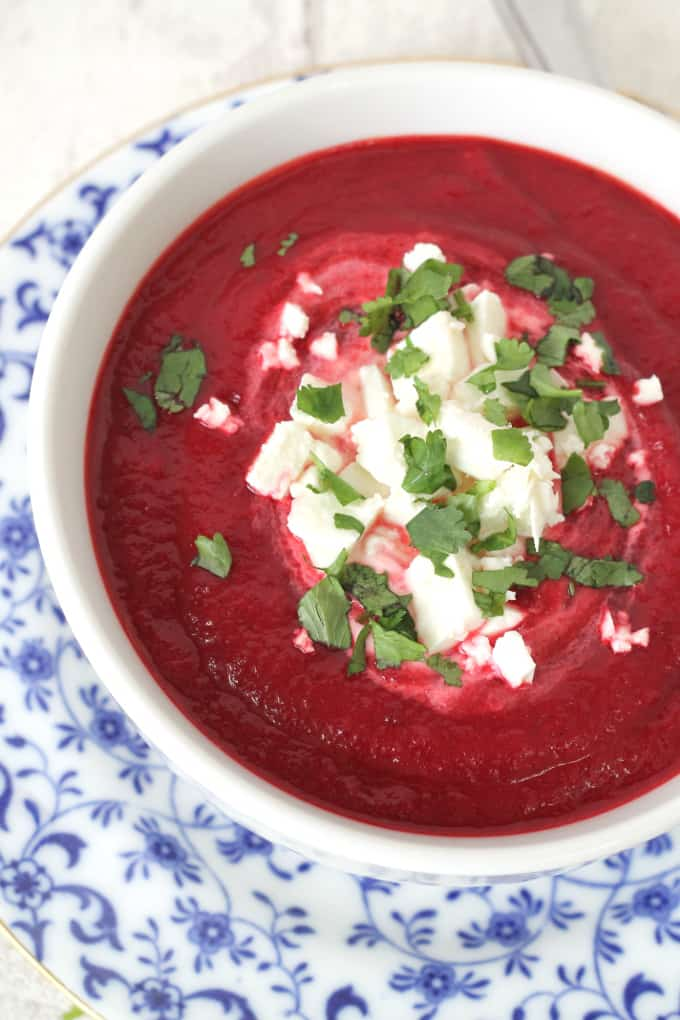 beetroot and carrot soup with creme fraiche